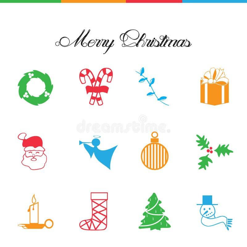 Christmas Icons. Wreath. Candy. Tree. Angel. Santa. Decoration. vector illustration