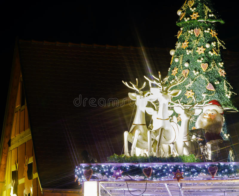 Christmas illumination and decoration of typical french house stock images