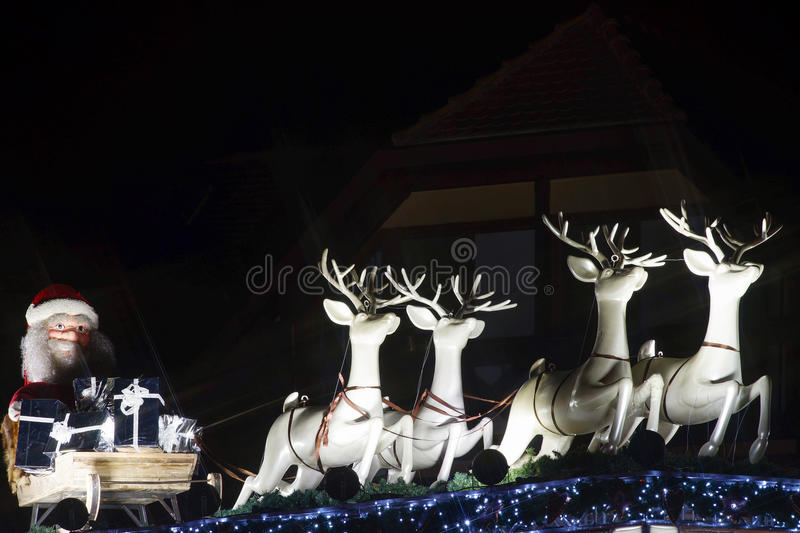 Christmas illumination and decoration of typical french house stock image