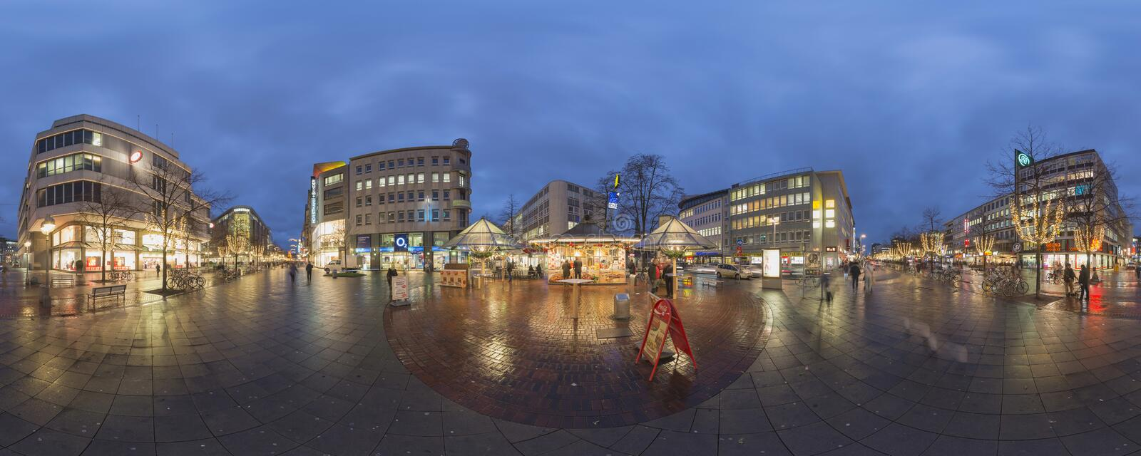Christmas illumination in Hannover. HANNOVER, GERMANY - DECEMBER 18, 2014: Christmas illumination on streets in the center of Hannover. 360 degree panorama royalty free stock photo
