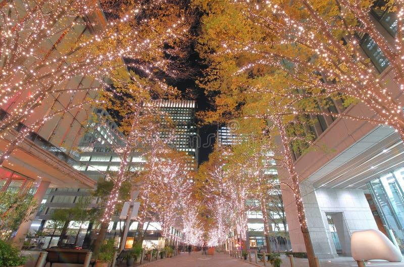 Christmas illumination street Marunouchi Tokyo Japan stock photos
