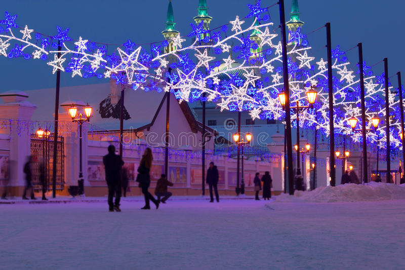 Christmas illumination on the streets. Russia, Kazan royalty free stock photo