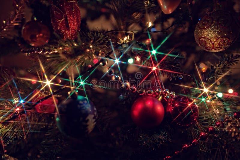 Christmas illuminations. Christmas lights on the Christmas tree royalty free stock photography