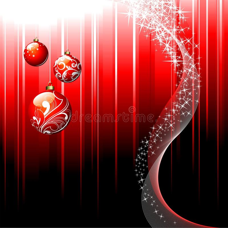 Christmas illustration. With shiny glass ball on red background vector illustration