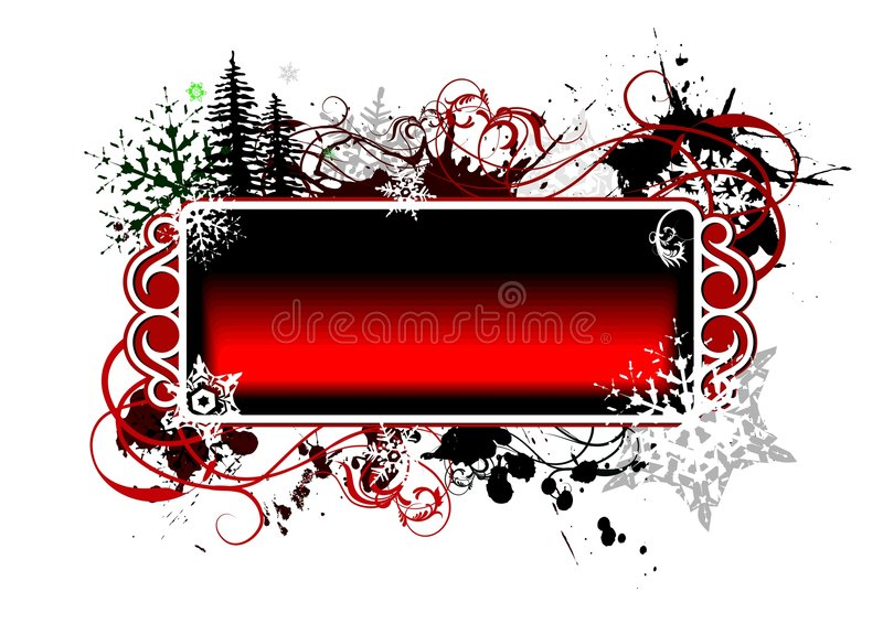 Christmas illustration. With snowflakes on red banner for greeting card stock illustration