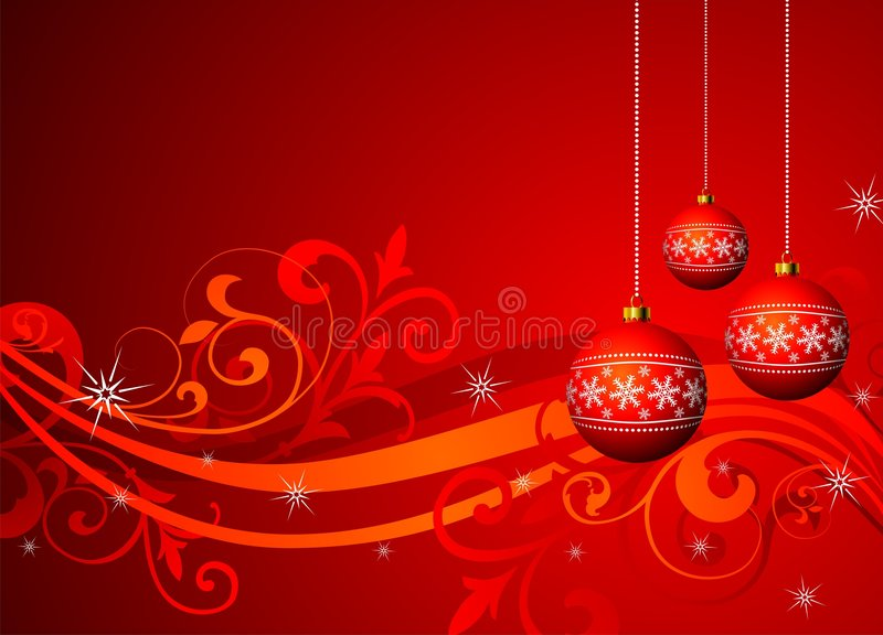 Christmas illustration. With red ball for greeting card vector illustration