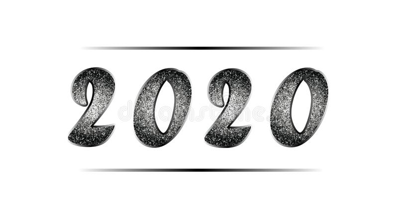 Christmas illustration in black and white tones with glitter. Banner with shiny nielloed numbers 2020, isolated on white royalty free stock images