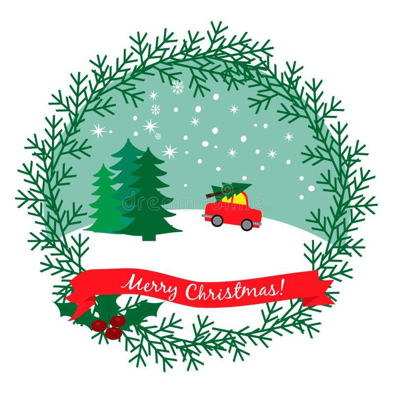 Christmas illustration with car driving Christmas tree royalty free illustration