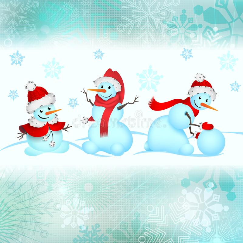 Christmas illustration. Cheerful snowmen. An example of design cards, labels, packaging. stock photos