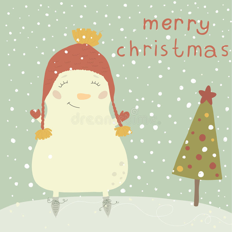 Christmas illustration with cute snowman. Cartoon. Christmas illustration with cute snowman. Postcard for the new year and for Christmas.Cartoon Christmas card stock illustration