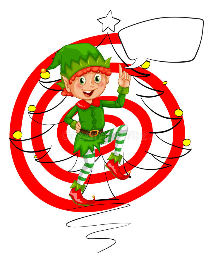 Christmas. Illustration of an elf and christmas tree royalty free illustration