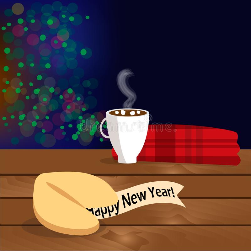 Christmas illustration with fortune cookie with congratulation on the wooden table vector illustration