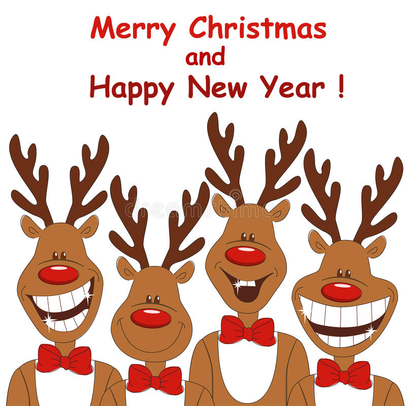 Christmas illustration of four cartoon reindeer. royalty free illustration