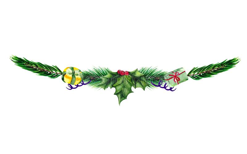 Christmas illustration with a garland of fir branches, gifts and Holly. stock photography