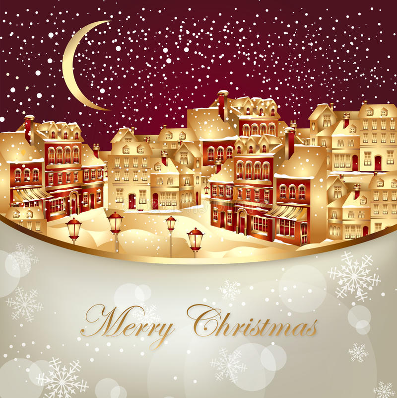Christmas illustration with gold town vector illustration