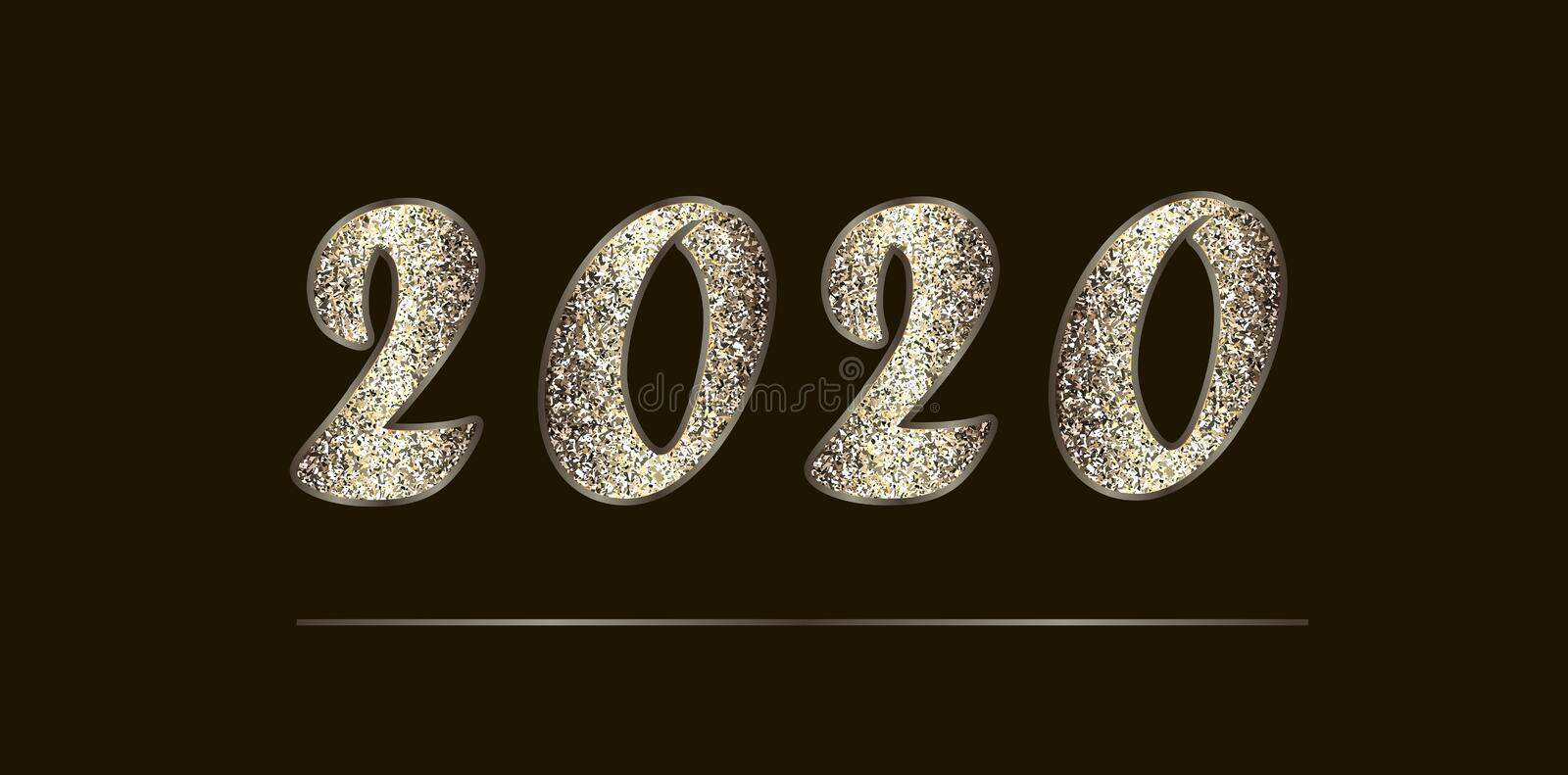 Christmas illustration in golden-brown tones with glitter. Shiny numbers 2020 New Year, isolated on dark. stock photography