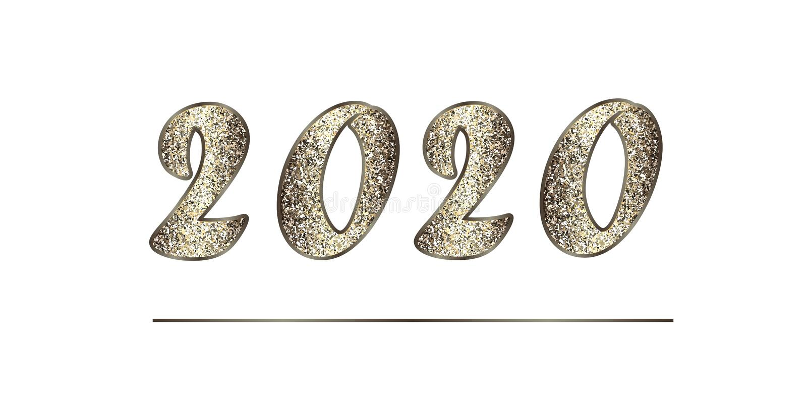 Christmas illustration in golden-brown tones with glitter. Shiny numbers 2020 New Year, isolated on white. stock photo
