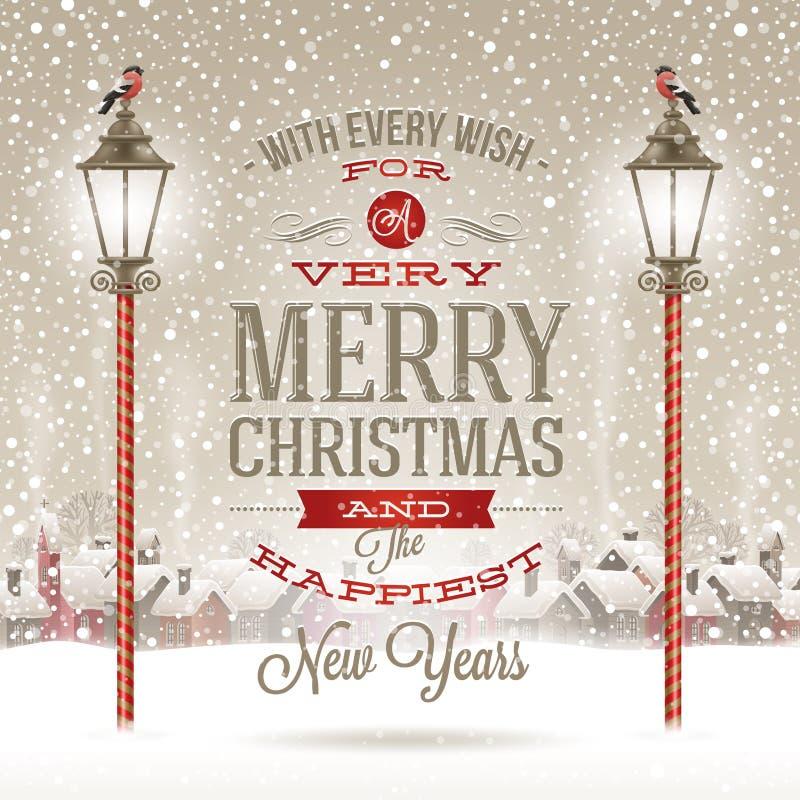 Christmas illustration. Christmas greeting type design with vintage street lantern against a winter village - holidays illustration royalty free illustration