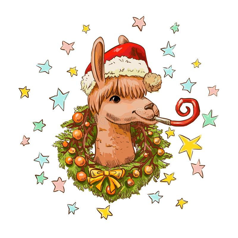 New year llama in santa hat with Christmas wreath. Christmas illustration of hand-drawn cute llama. Funny vector new year character royalty free illustration
