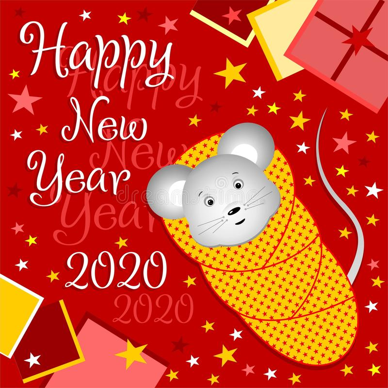Little mouse in a diaper on a New Year`s card. Baby mouse 2020. royalty free stock images