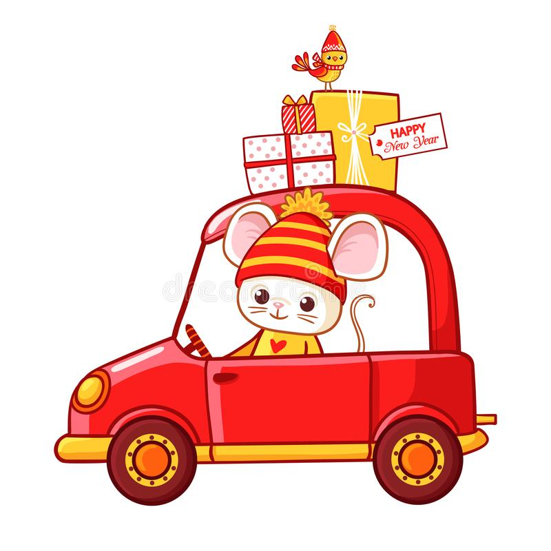 Christmas illustration with a mouse in a car that carries Christmas gifts vector illustration
