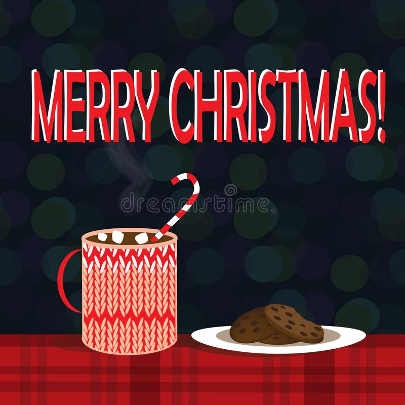 Christmas illustration of mug with hot cocoa and cookies on the plate vector illustration