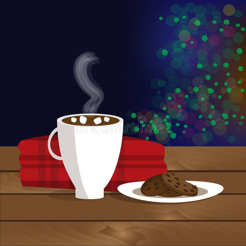 Christmas illustration of mug with hot cocoa, cookies on the plate and plaid royalty free illustration