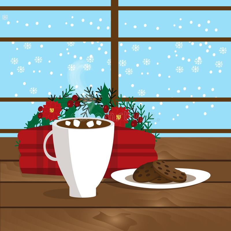 Christmas illustration of mug with hot cocoa, cookies on the plate and plaid near window vector illustration
