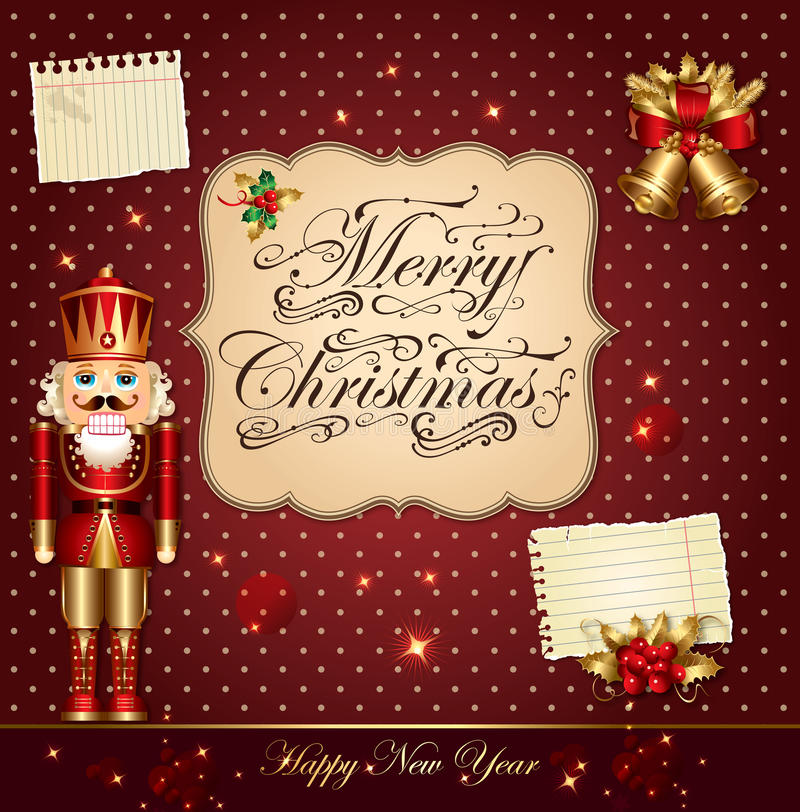 Christmas illustration with nutcracker royalty free illustration