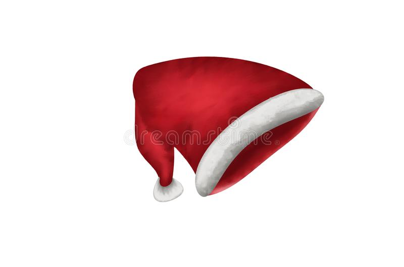 Christmas illustration with red santa hat on white background. Isolated vector object royalty free stock photos