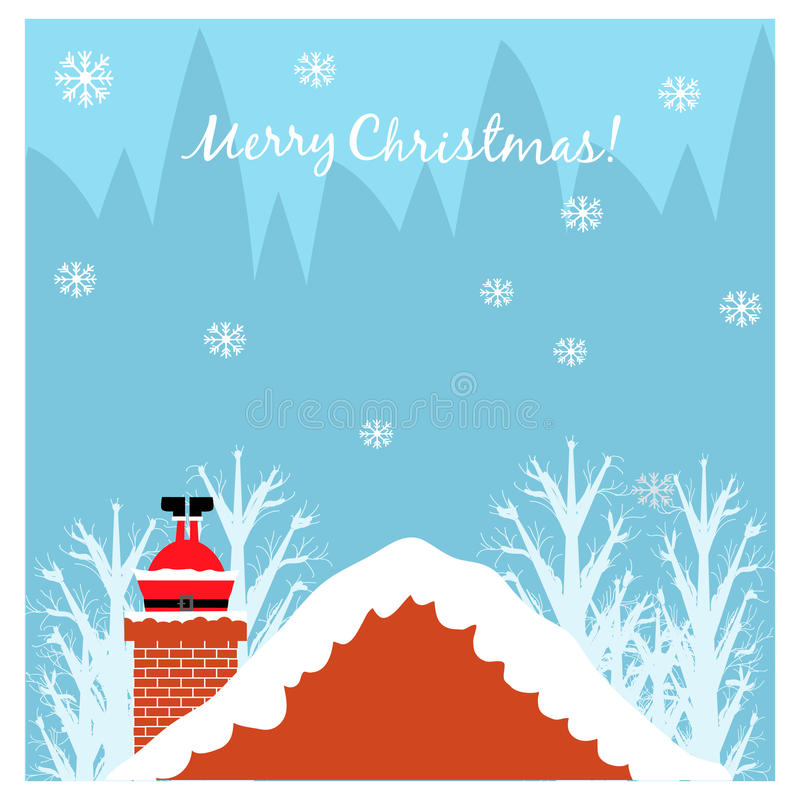 Christmas illustration with Santa in the chimney royalty free illustration