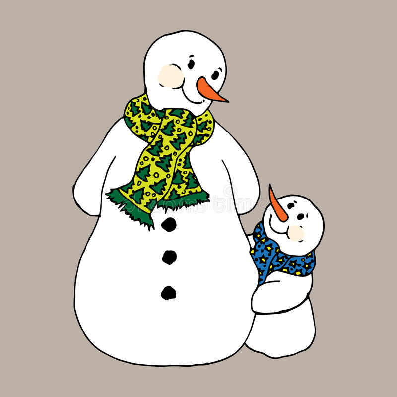 Christmas illustration. Snowmen in scarves, adults and children. Christmas card. Christmas illustration. Snowmen in scarves, adults and children. Christmas card stock illustration
