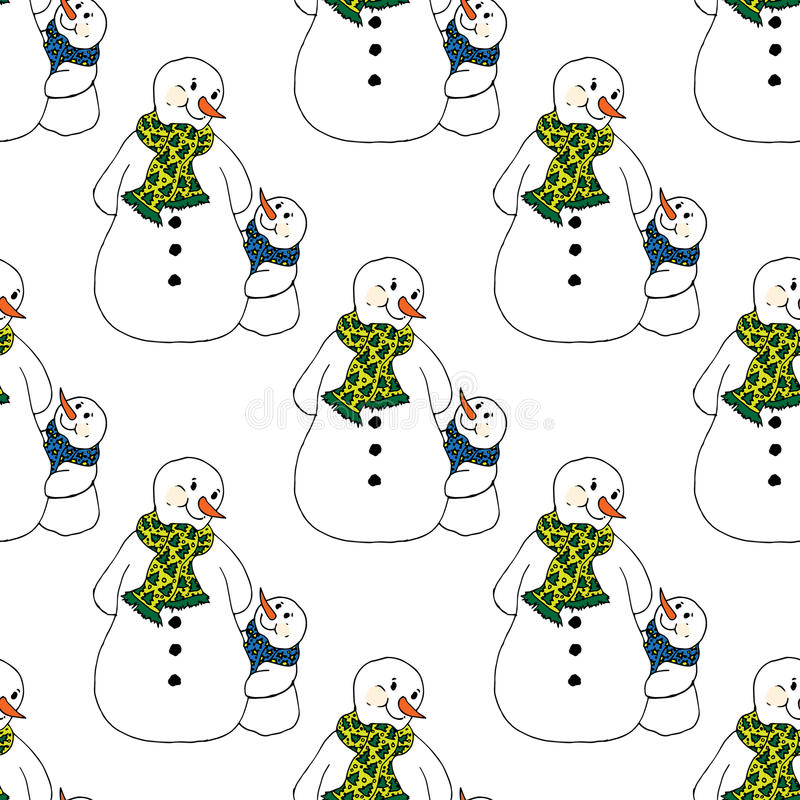 Christmas illustration. Snowmen in scarves, adults and children. Christmas card. Seamless pattern. Christmas illustration. Snowmen in scarves, adults and royalty free illustration
