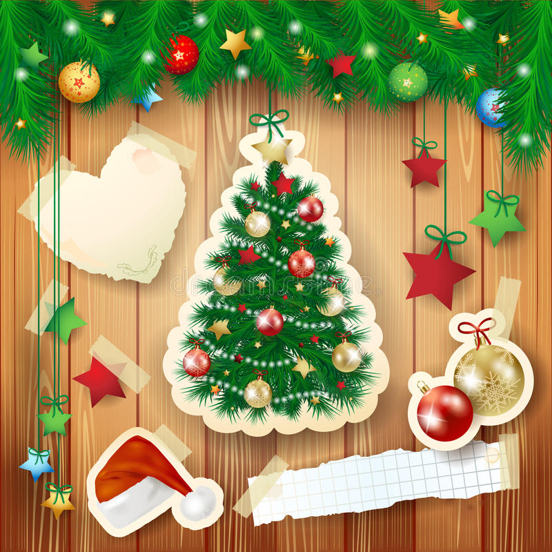 Christmas illustration with tree and paper elements stock illustration