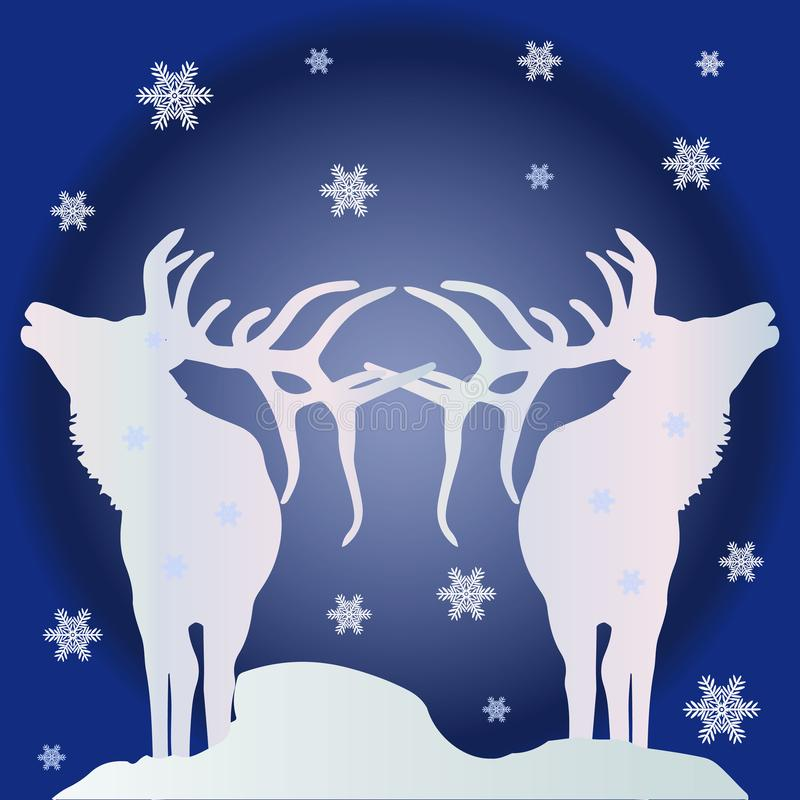 Christmas illustration, two white silhouettes of deer northern vector illustration