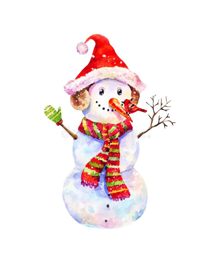 Funny snowman in Christmas hat and red-green striped scarf on sn. Christmas illustration with watercolor snowman with red winter bird on his nose. Funny vintage vector illustration