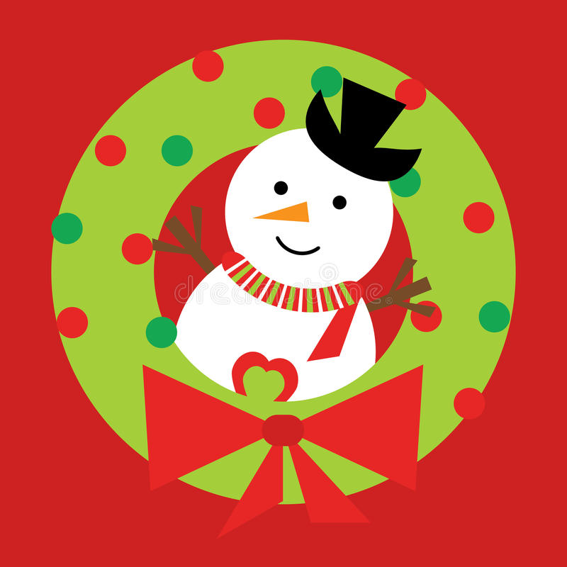 Free Christmas Illustration With Cute Snowman On Xmas Wreath On Red Background Stock Image - 81531721