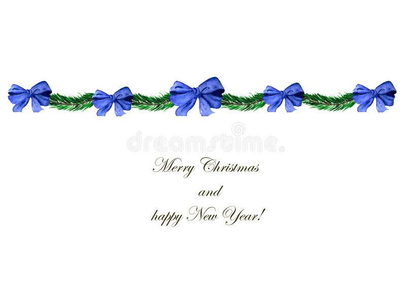 Christmas illustration with a wreath of fir branches and blue bows. Festive composition for decoration of greeting cards, posters stock photos