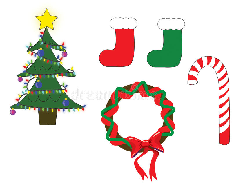 Christmas illustrations. A christmas tree with lights and decorations as well as a set of stockings, a wreath and a candy cane all isolated on white royalty free illustration