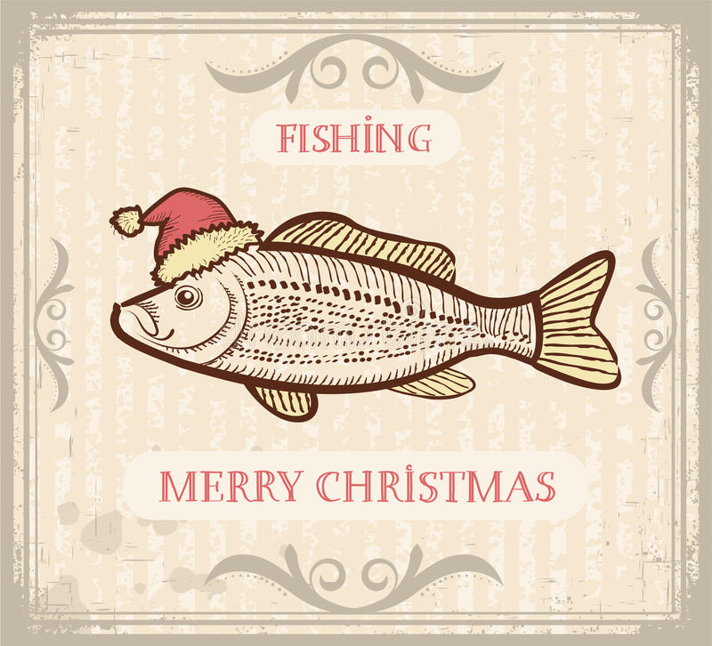 Christmas image of Fishing with fish in Santa hat vector illustration