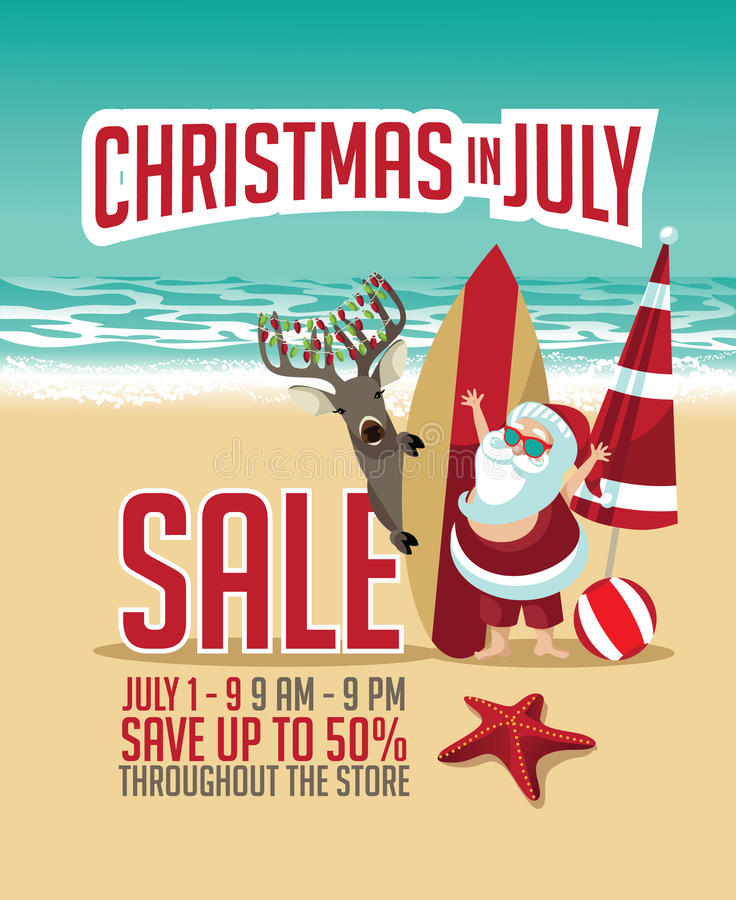Free Christmas In July Sale Marketing Template. Royalty Free Stock Image - 73603906