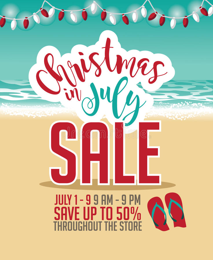 Free Christmas In July Sale Marketing Template. Royalty Free Stock Images - 73854509