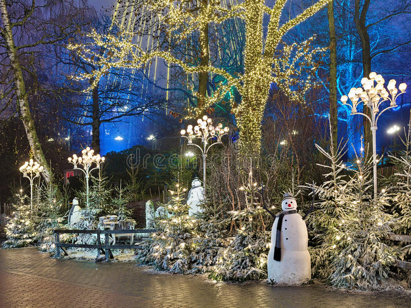 Christmas installation with snowmans in Liseberg park, Gothenburg. Christmas installation with snowmans in Liseberg amusement park in Gothenburg, Sweden royalty free stock images