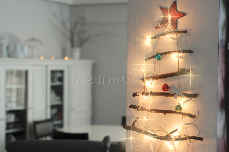 Christmas Interior with hand made Christmas tree stock photo