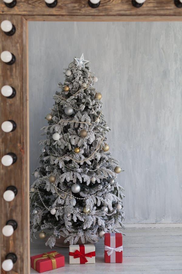 Christmas Interior home vintage Christmas tree gifts new year. Home vintage Christmas tree gifts new year royalty free stock image