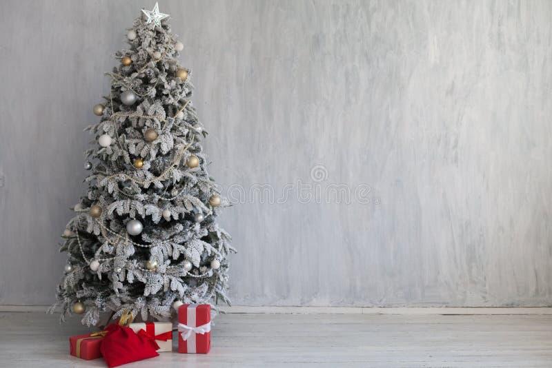 Christmas Interior home vintage Christmas tree gifts new year. Home vintage Christmas tree gifts new year stock photography
