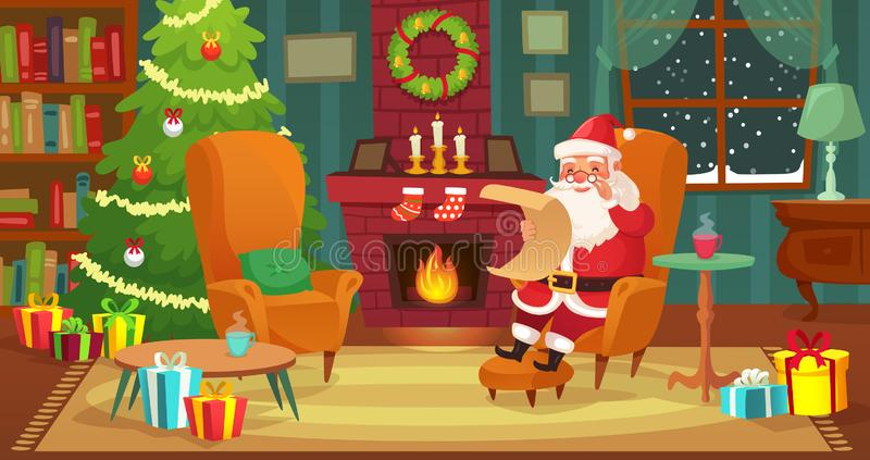 Christmas interior. Santa Claus winter holiday decorated living room with fireplace and xmas tree cartoon vector. Christmas interior. Santa Claus winter holiday stock illustration