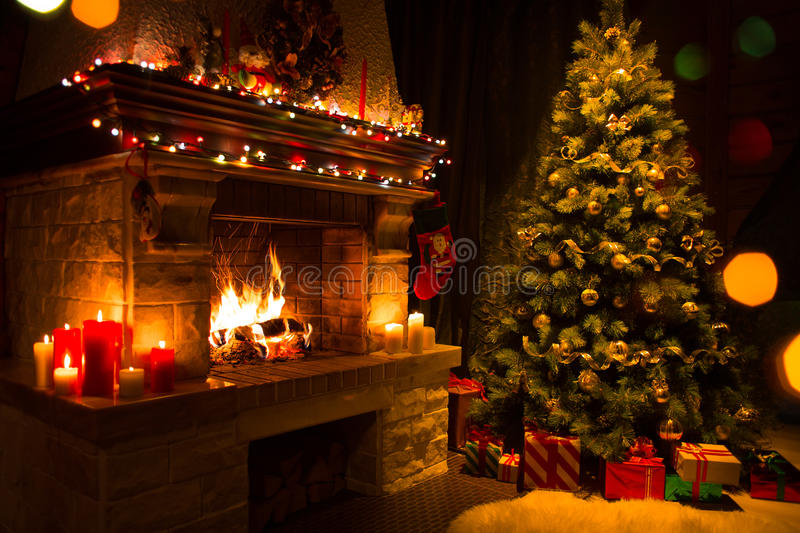 Download Christmas Interior With Tree, Presents And Fireplace Stock Photo - Image of dark, christmas: 76732394
