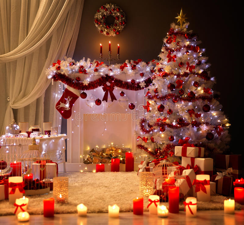 Download Christmas Interior, Xmas Tree Fireplace Light, Decorated Room Stock Photo - Image of garlands, christmas: 79716366