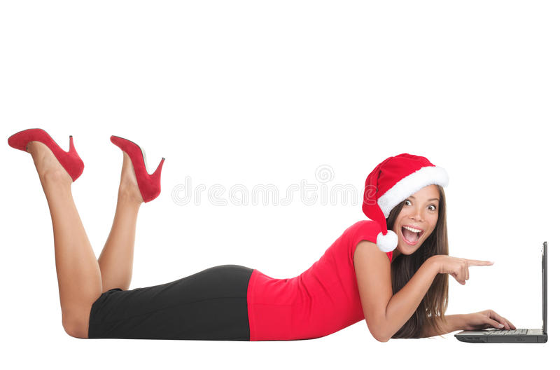 Christmas Internet Shopping Woman Stock Photography
